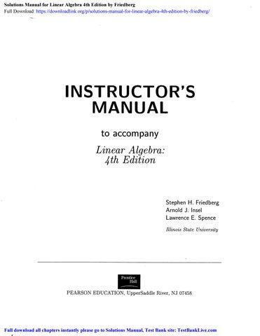 Linear Algebra Fourth Edition Friedberg Solutions Manual