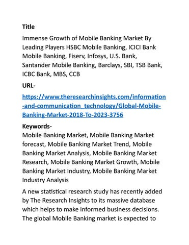 Immense Growth of Mobile Banking Market By Leading Players by Kiran