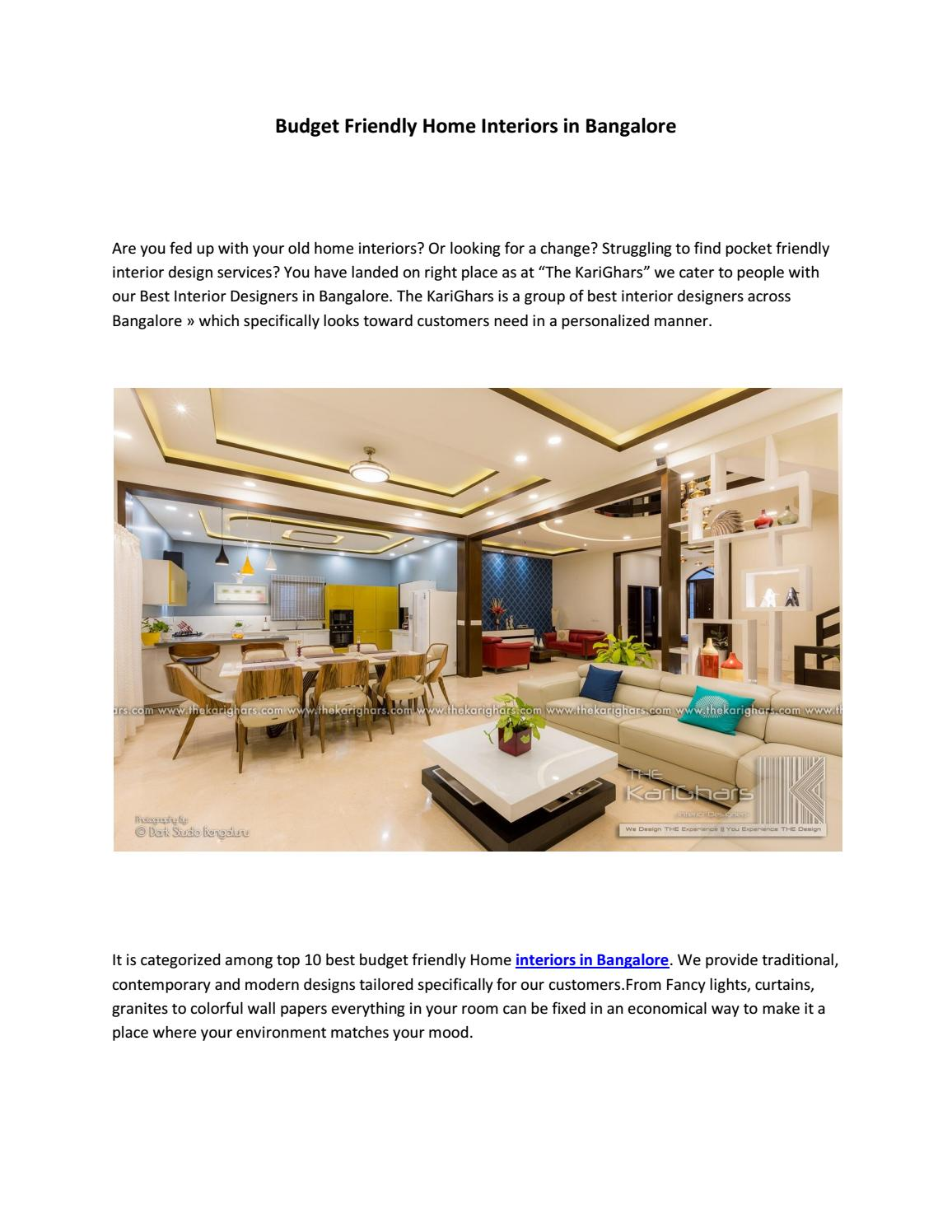 Budget Friendly Home Interiors In Bangalore By The Karighars Issuu