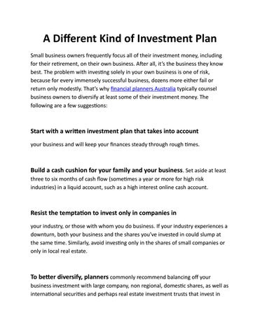 A Different Kind of Investment Plan by Simon2012 - issuu