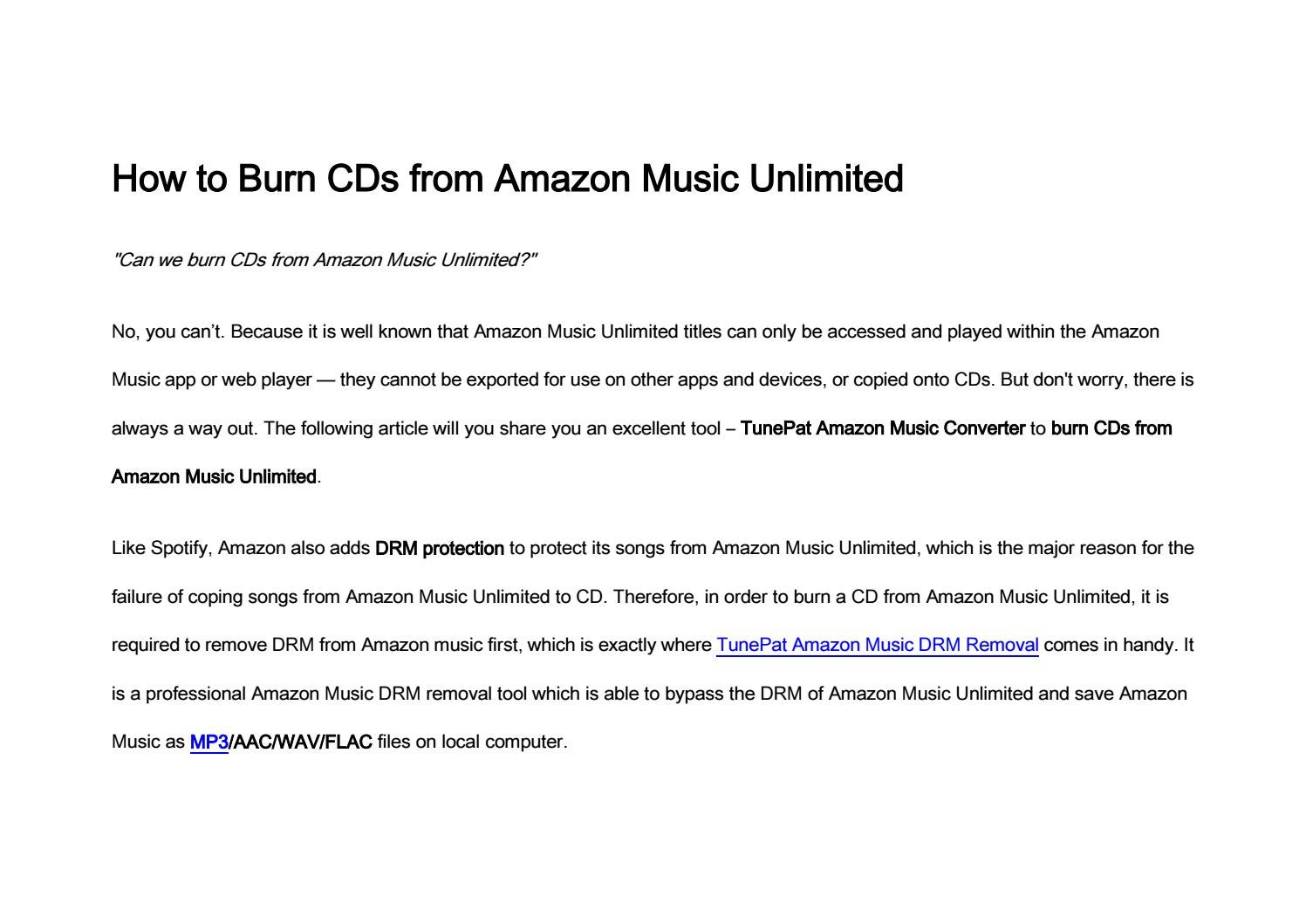 How to Burn CDs from Amazon Music Unlimited by Jack Samuel