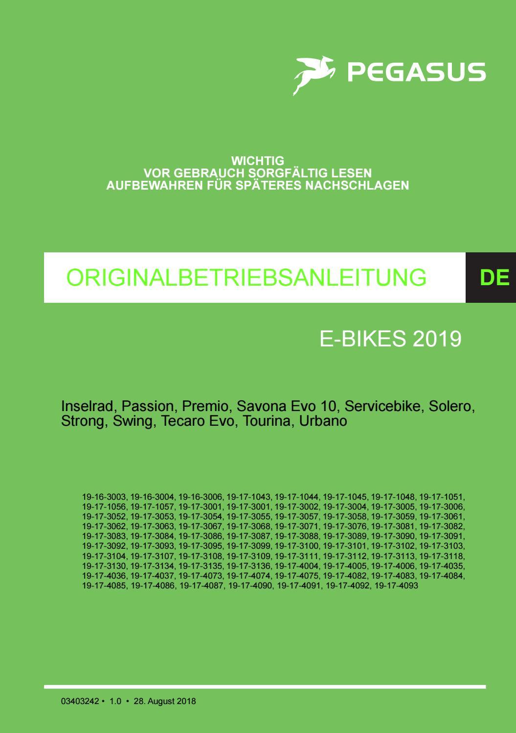 Bedienungsanleitung Pegasus eBike Pedelec 2019 by Axel