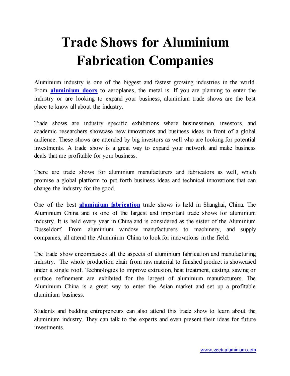Trade Shows for Aluminium Fabrication Companies by