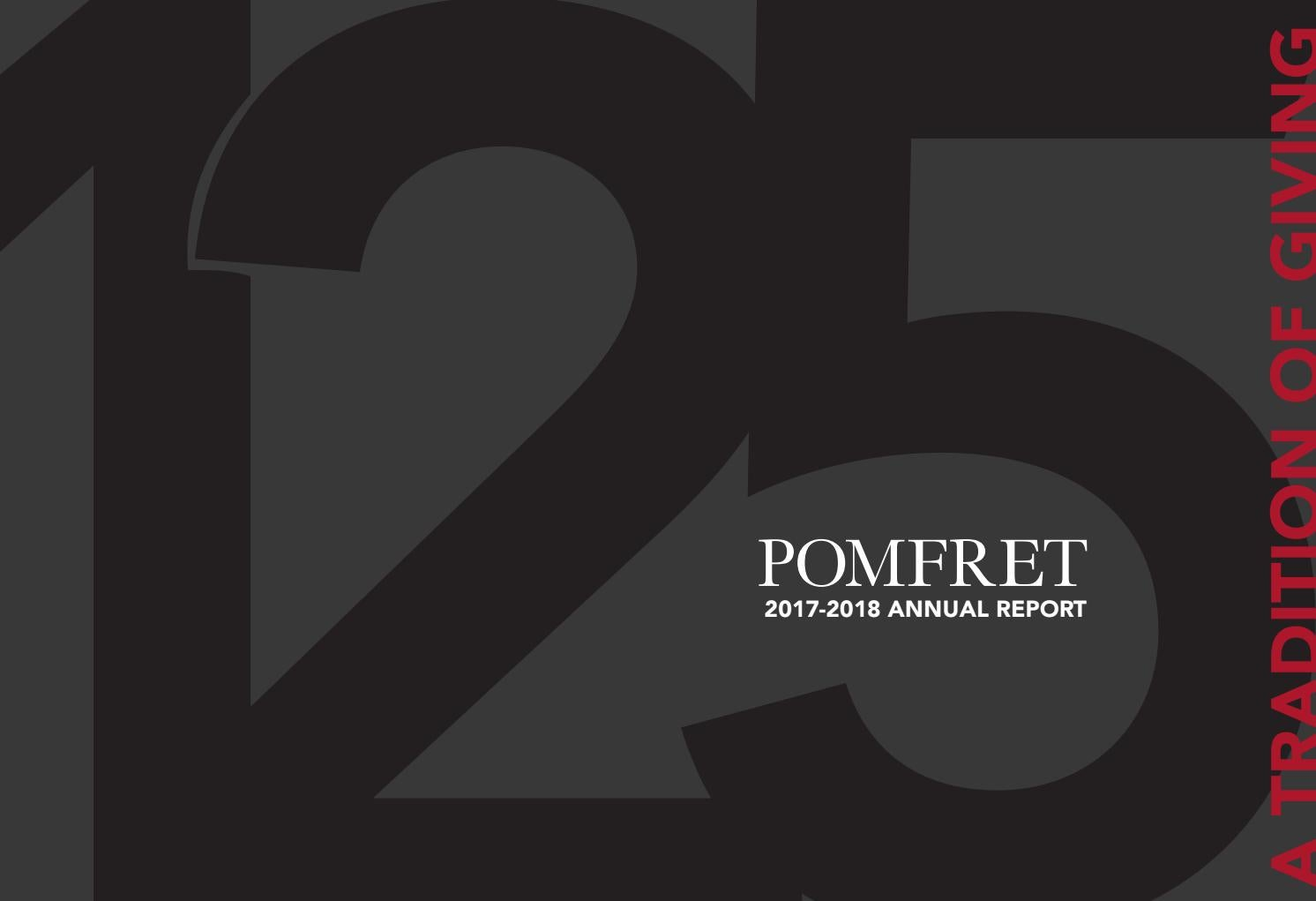 2017-2018 Annual Report — A Tradition Of Giving by Pomfret