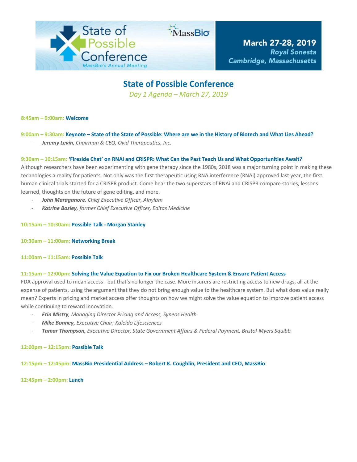 State of Possible Conference Agenda Feb 22 2019 by Mass Bio