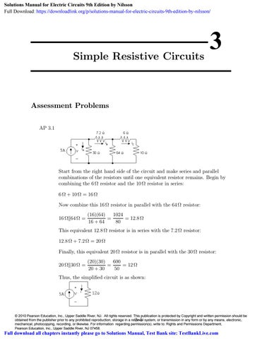 Solutions Manual for Electric Circuits 9th Edition by Nilsson by