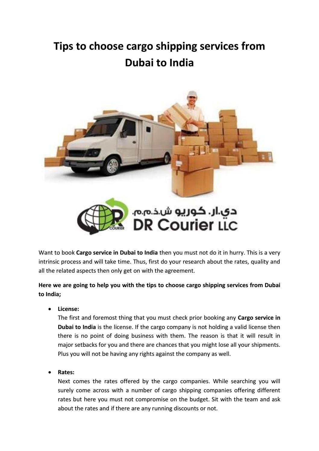 Tips to choose cargo shipping services from Dubai to India by dr