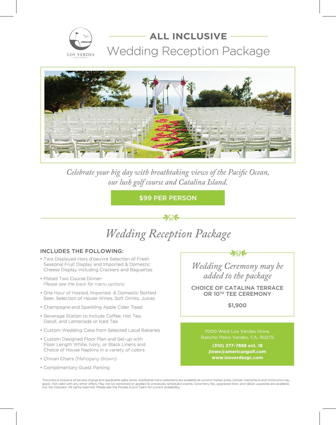 2019 Los Verdes All Inclusive Wedding Package 99 Per Person By Los Verdes Private Events Issuu