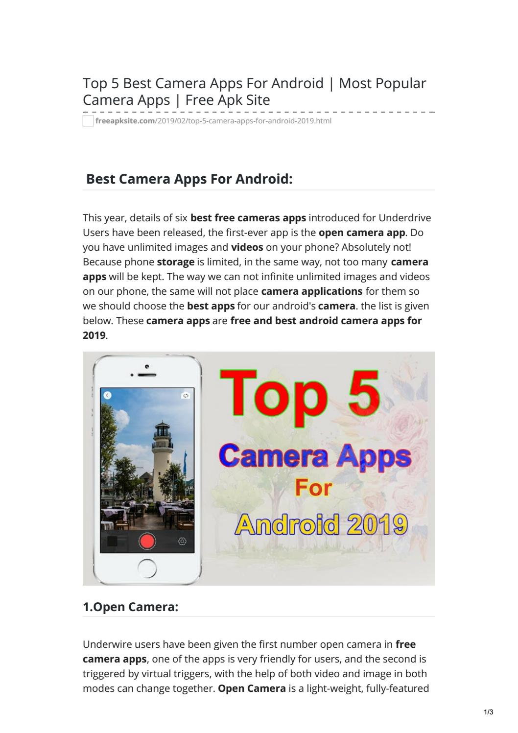 Top 5 Best Camera Apps For Android Most Popular Camera Apps