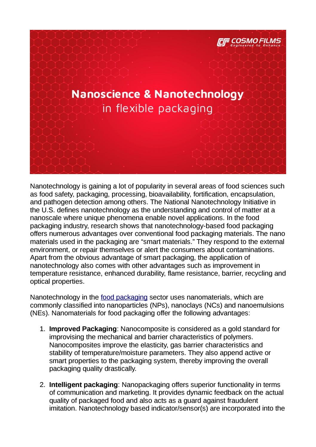 Nanoscience and Nanotechnology in Food Packaging Industry by