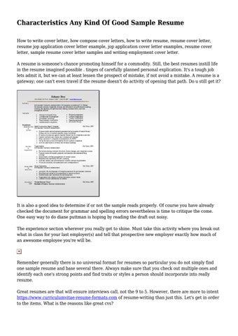 Characteristics Any Kind Of Good Sample Resume By Docmagazinehigh