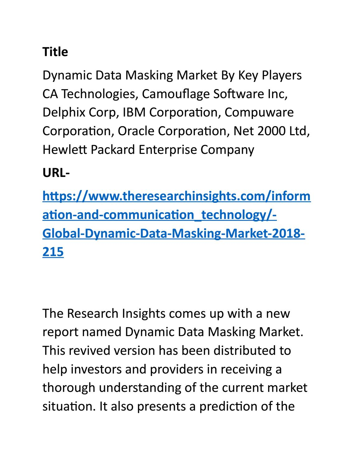 Dynamic Data Masking Market By Key Players in Future Years