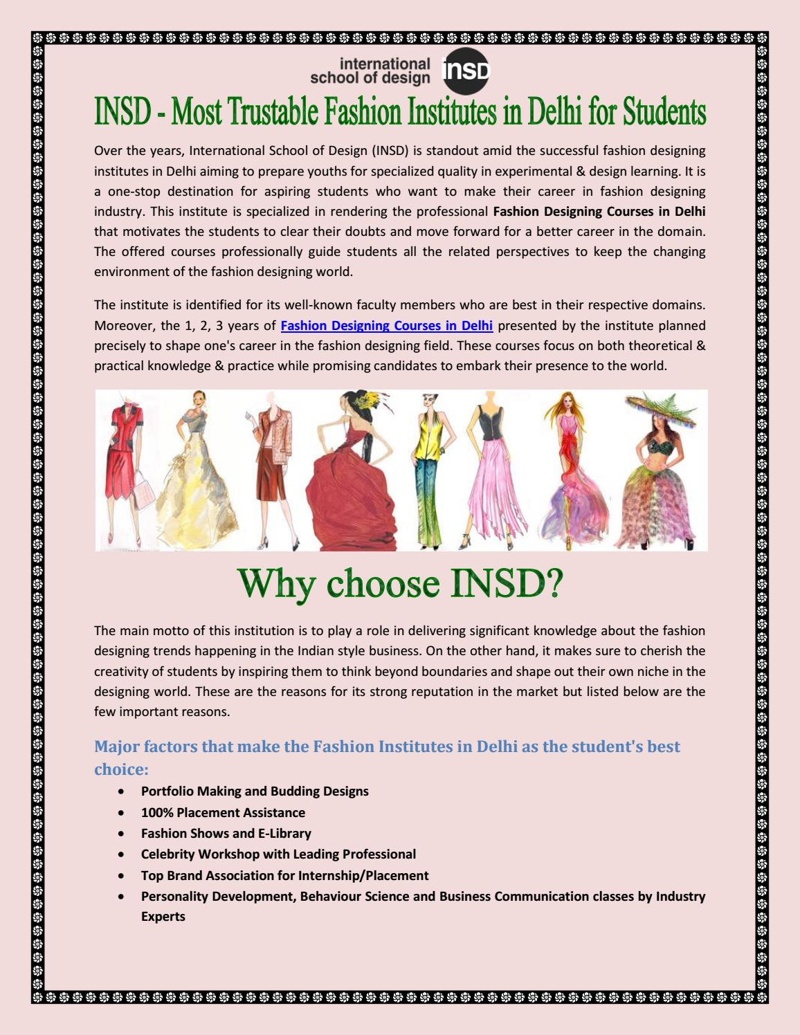 Insd Most Trustable Fashion Institutes In Delhi For Students By Insd Paschim Vihar Issuu