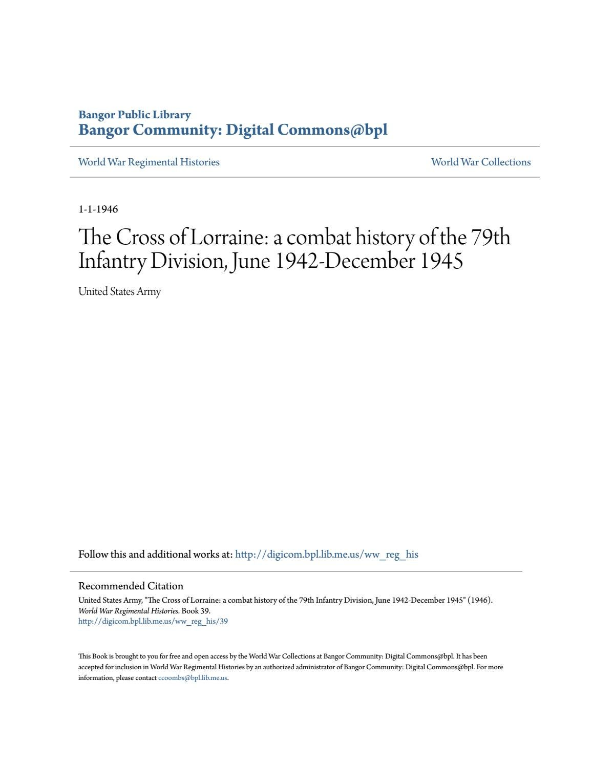 Combat History of the 79th Infantry Division by 79thdivision - issuu