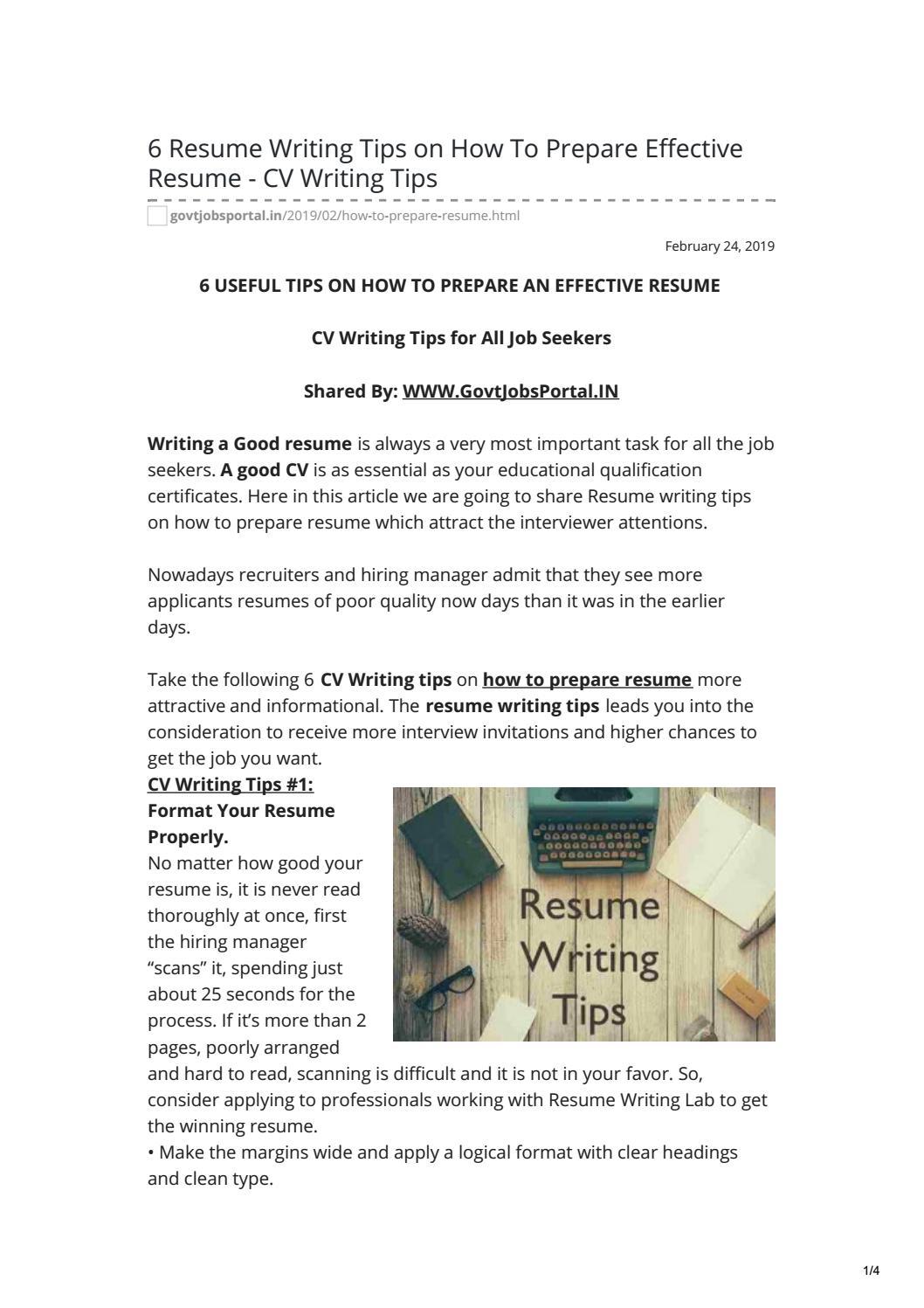 Effective Resume - CV Writing Tips.