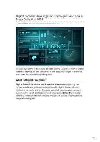Digital Forensics Investigation Techniques And Tools - Mega