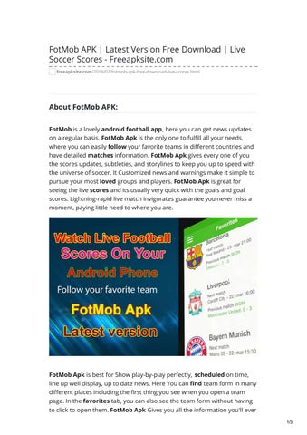 FotMob APK Latest Version Free Download Live Soccer Scores - Freeapksitecom