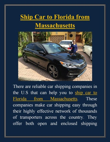 Ship Car To Florida From Massachusetts By Adrianweisely123 Issuu