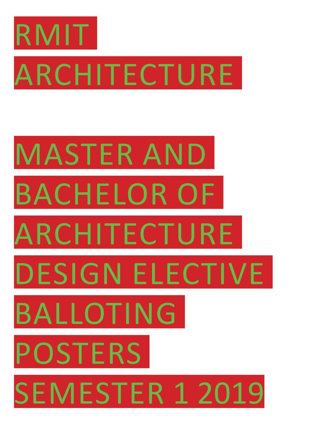 RMIT ARCHITECTURE DESIGN ELECTIVE POSTERS SEMESTER 1, 2019