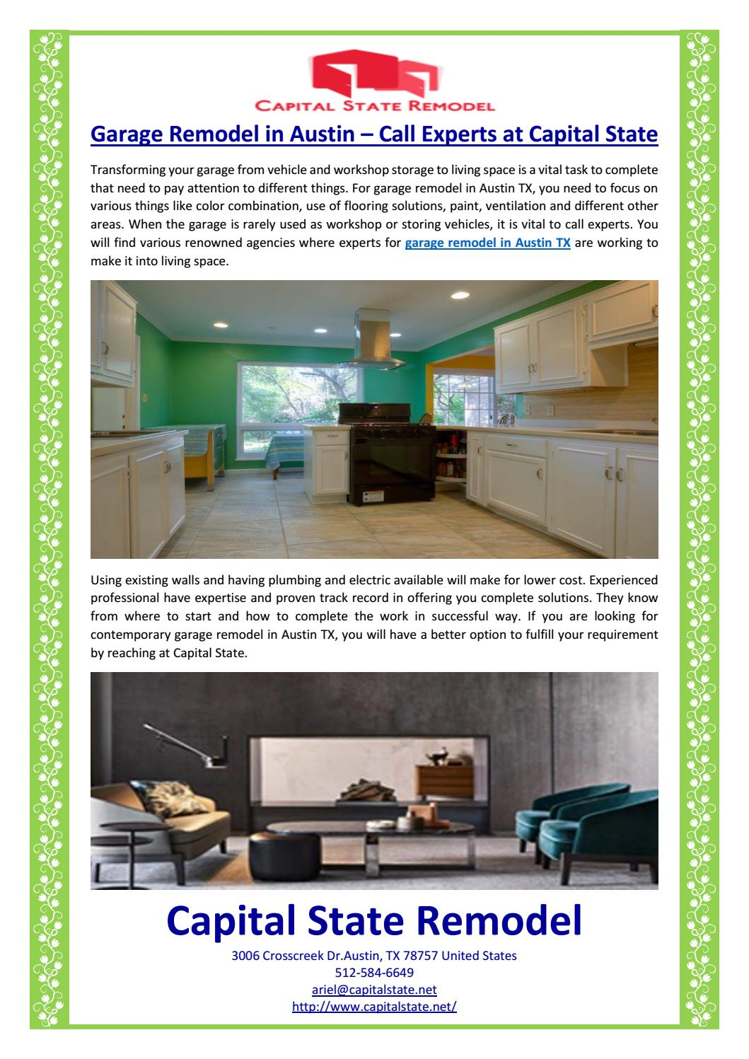 Garage Remodel In Austin Call Experts At Capital State By