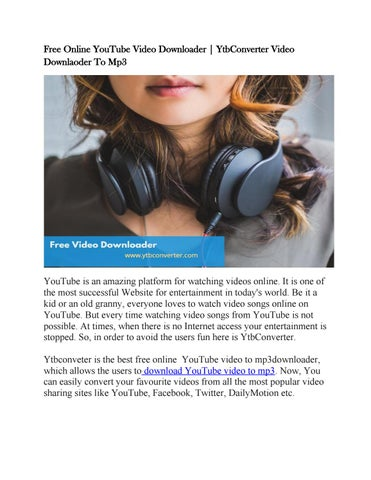 youtube video to mp3 download free online