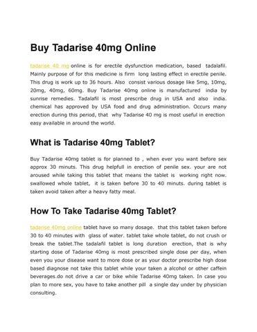 Buy Tadarise 40mg Online, Tadarise 40 mg Reviews by