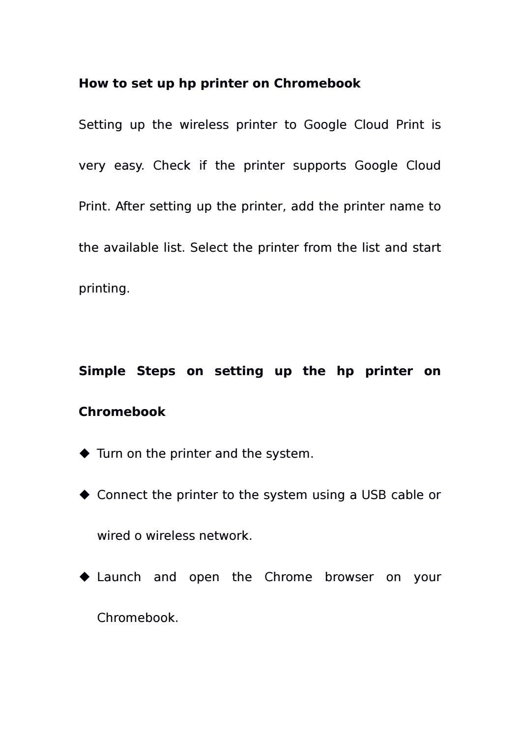 How to set up hp printer on Chromebook by sandra carol - issuu