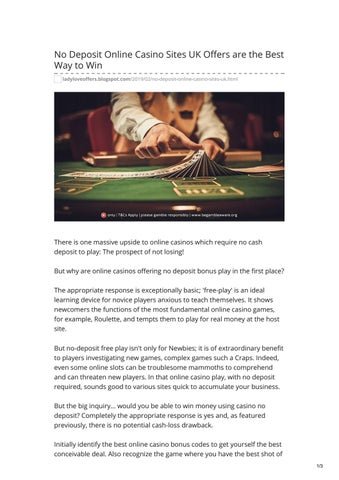 No Deposit Online Casino Sites UK Offers are the Best Way to