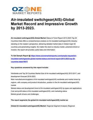 Air-insulated switchgear(AIS)-Global Market Record and