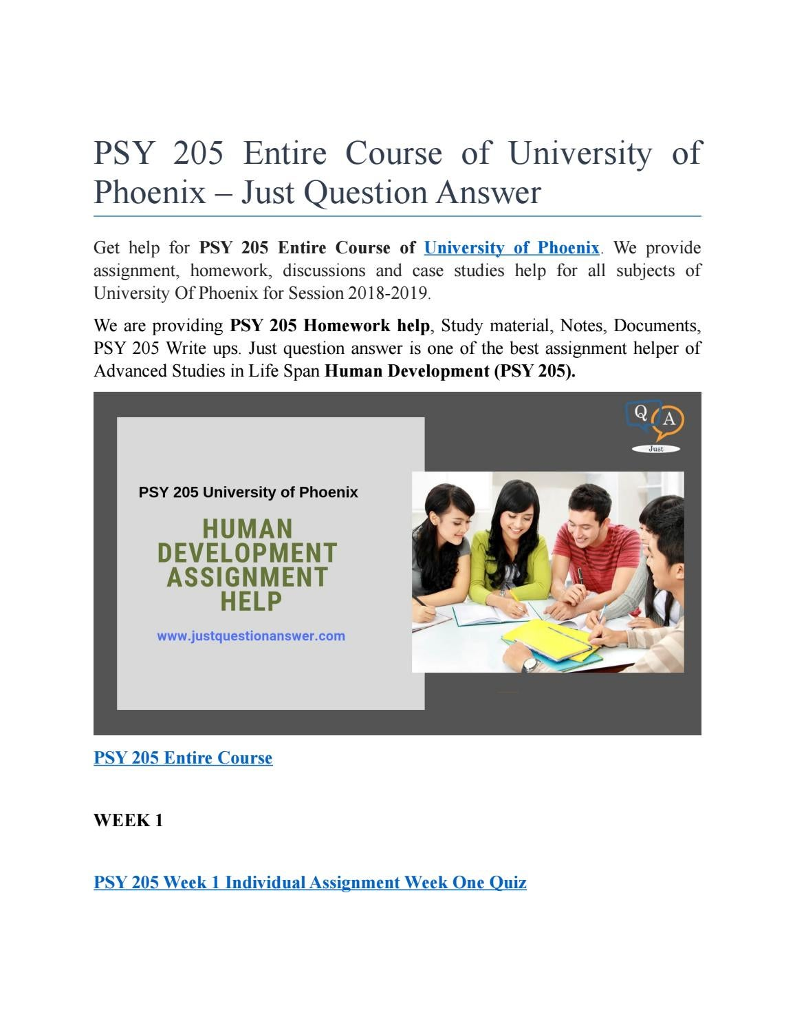 Psy 205 Entire Course Of University Of Phoenix Just Question Answer By Justquestionanswer Issuu