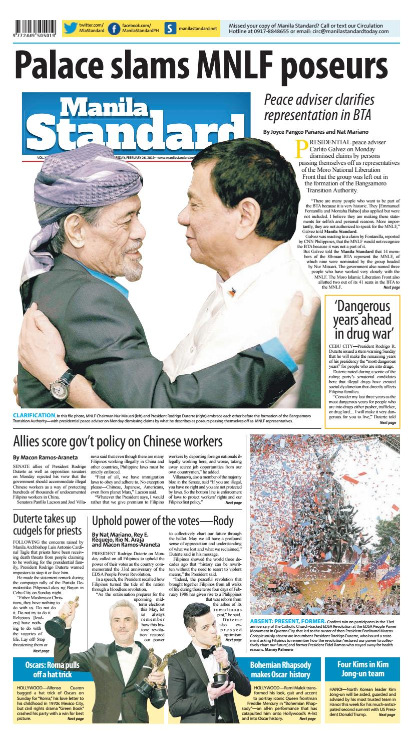 Manila Standard - 2019 February 26 - Tuesday by Manila Standard - issuu