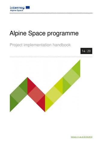 Alpine School District Calendar 2014-2020 Project Implementation Handbook Alpine Space Programme by Alpine