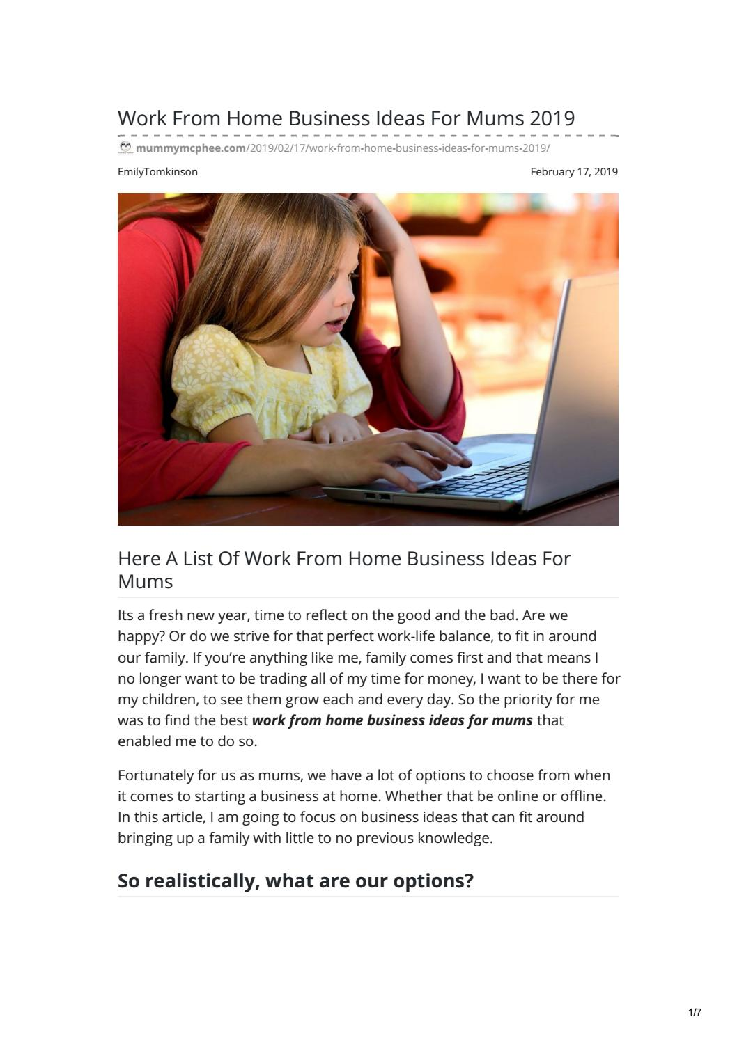 Work From Home Business Ideas For Mums 2019 By Mummymcphee