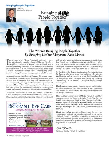 Page 10 of The Women Bringing People Together by Bringing Us Our Magazine Each Month