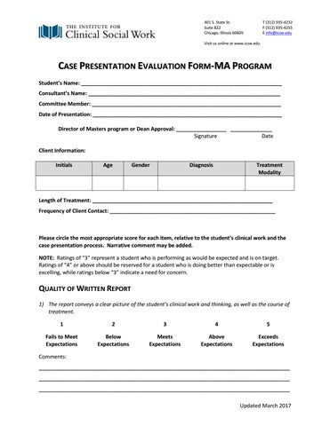 Presentation Evaluation | Ma Case Presentation Evaluation By Icsw Issuu