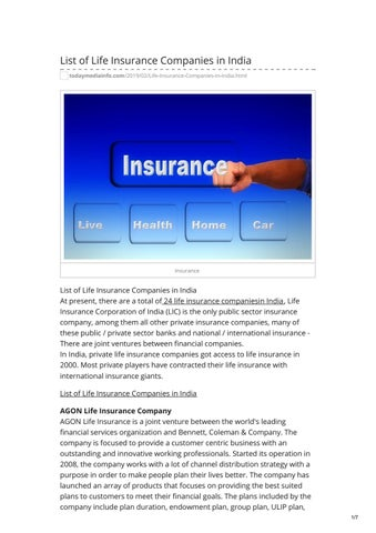 List Of Life Insurance Companies In India By Today Mediainfo Issuu