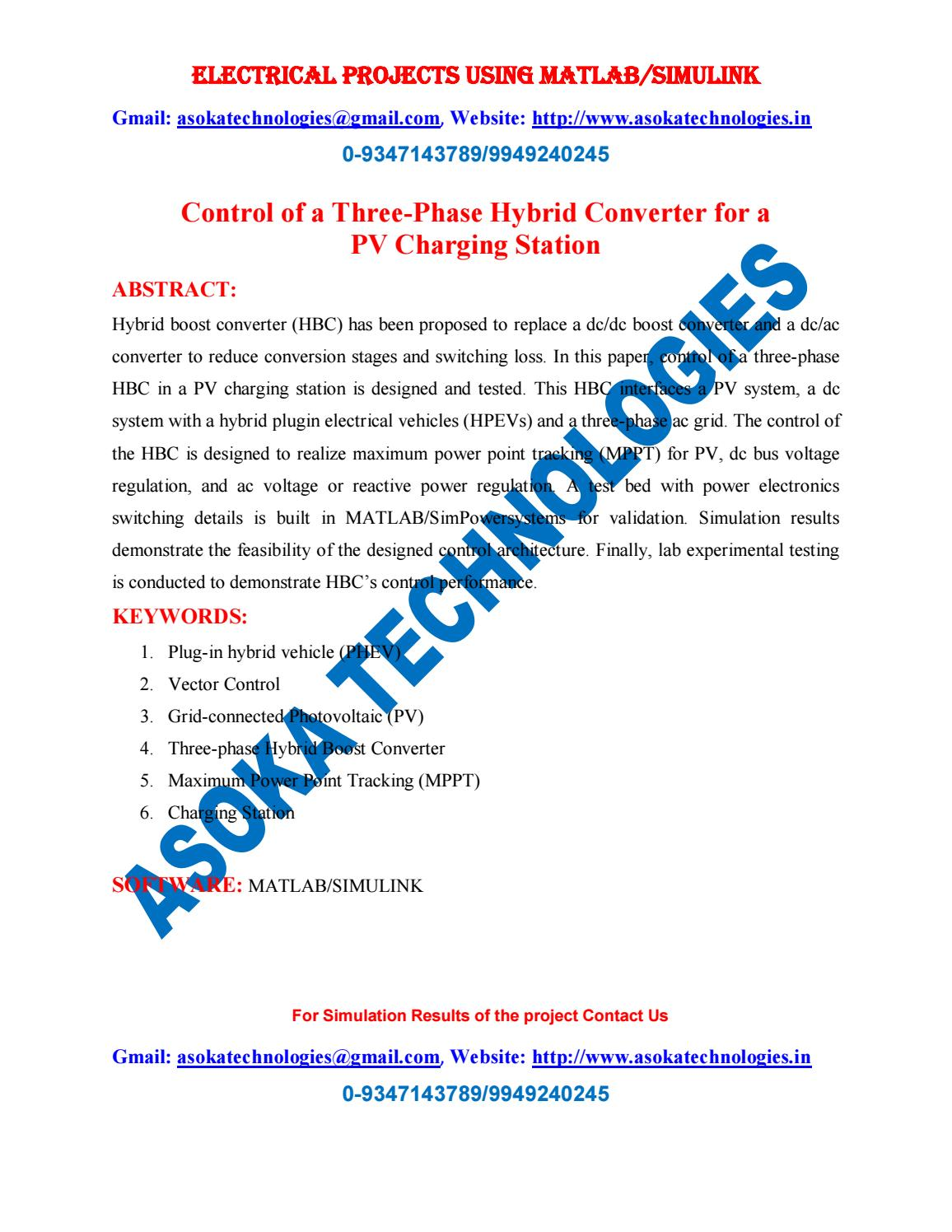 Control of a Three-Phase Hybrid Converter for a PV Charging