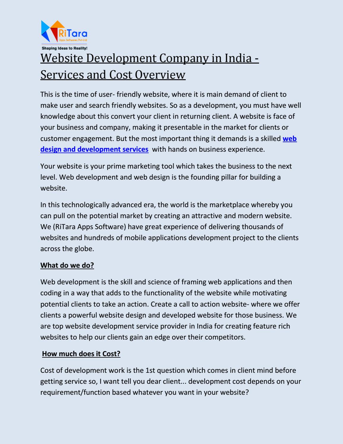 Website Development Services Cost Overview Ritara Apps By Ritaraapps Issuu