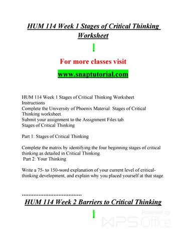 stages of critical thinking hum/114 worksheet