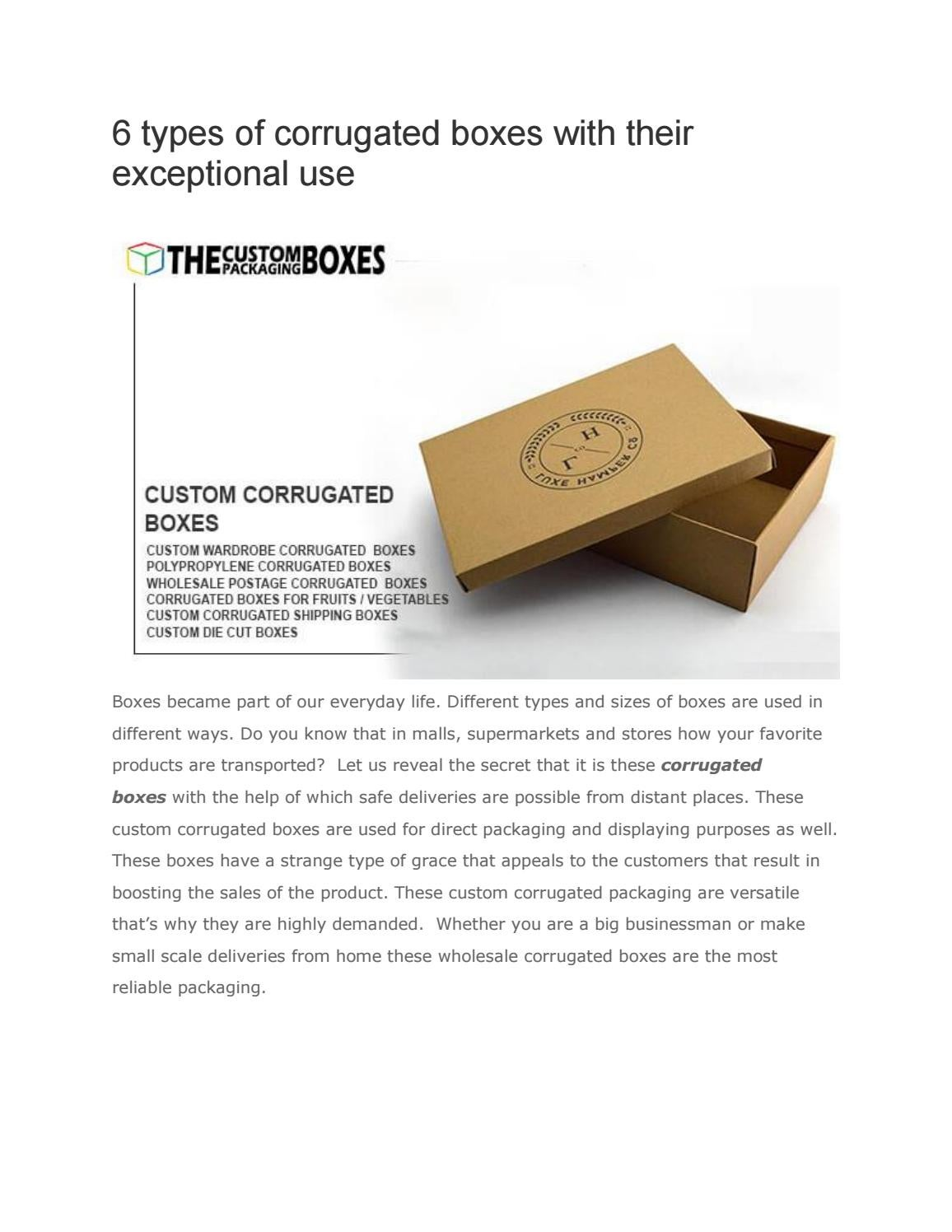 6 types of corrugated boxes with their exceptional use by