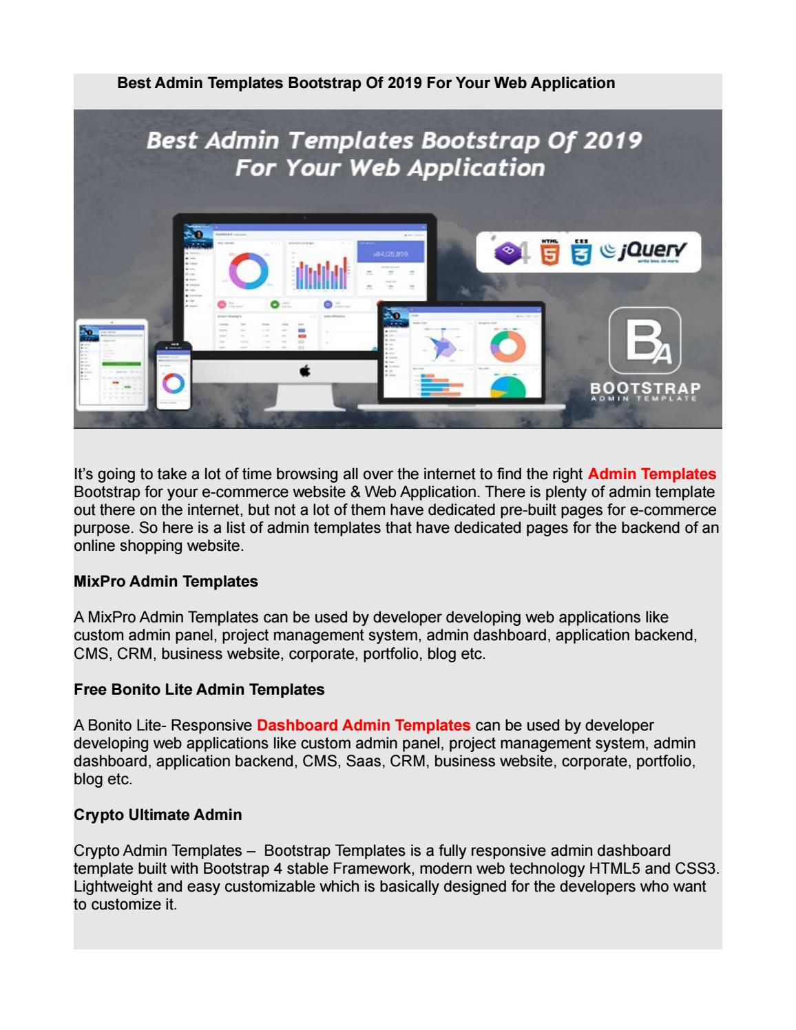 Best Admin Templates Bootstrap Of 2019 For Your Web Application by