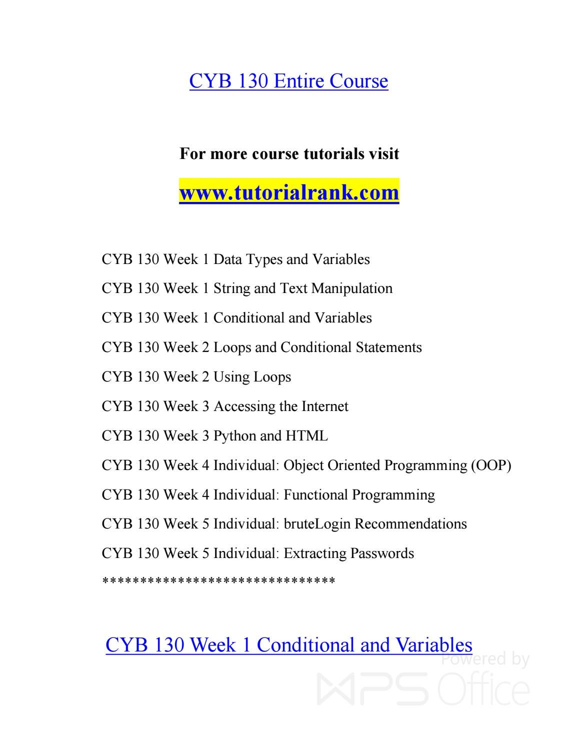 CYB 130 Teaching Effectively--tutorialrank com by PrescottLunt353