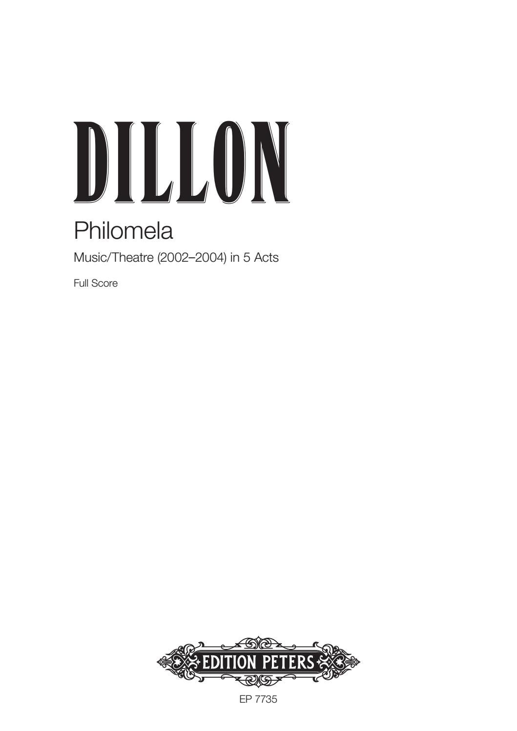 Dillon - Philomela by Edition Peters - Issuu