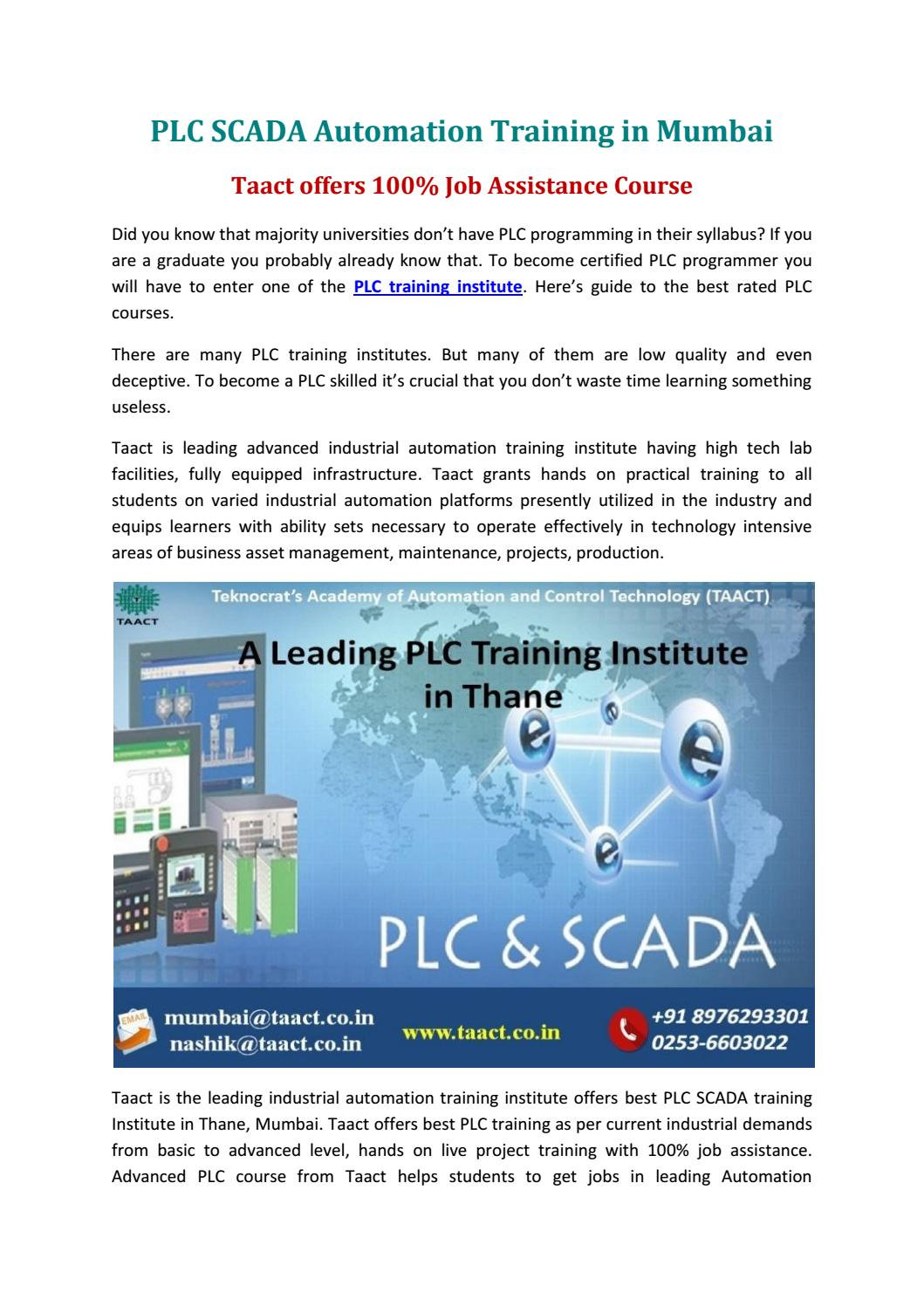 PLC SCADA Automation Training in Mumbai by Taact Training in