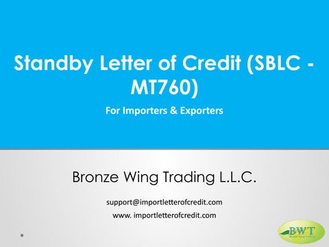 Standby letter of credit sblc mt760 by Bronze Wing Trading LLC - issuu
