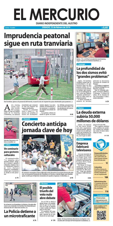 pretty nice cca09 fcea3 El Mercurio-23-02-2019 by Diario El Mercurio Cuenca - issuu