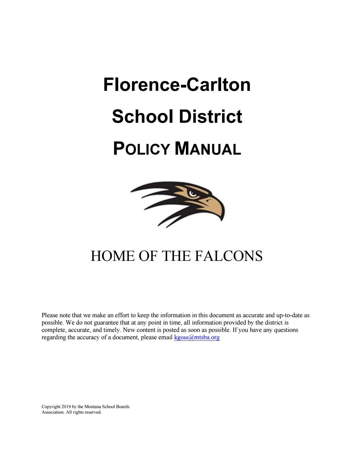 Florence Carlton Public Schools Policy Manual by Montana