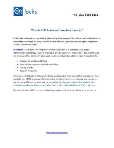 What is RFID Locks and how does it works? by qilocks - issuu