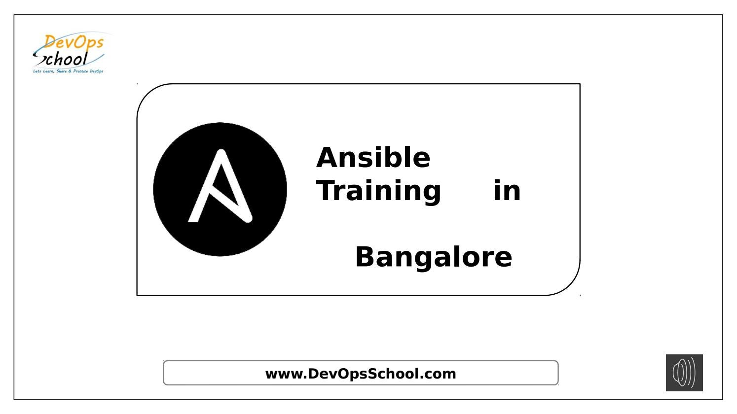 Ansible Training and Course Certification in Bangalore