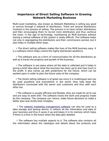 Mlm Not Your Business The Future Of Direct Selling